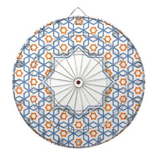 islamic geometric pattern dartboard with darts