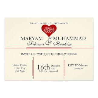 Islamic Islam vintage wedding engagement red heart Card