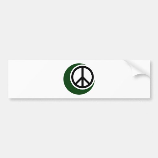 Islamic Muslim Symbol with Peace Sign Bumper Stickers