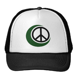 Islamic Muslim Symbol with Peace Sign Mesh Hat