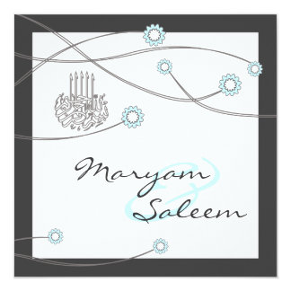Islamic nikka bismillah wedding flower card