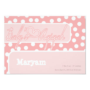 Aqiqah invitations announcements zazzle islamic polka dot pink baby aqiqah bismillah card stopboris Image collections