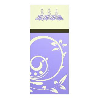 Islamic purple ornate flower wedding / engagement 10 cm x 24 cm invitation card