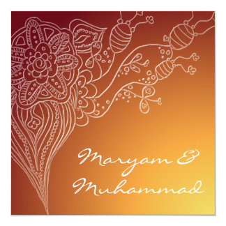 Islamic red  bismillah wedding invitation card