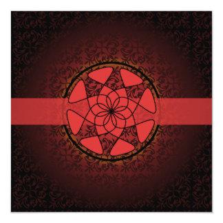 Islamic red  damask  bismillah wedding engagement 13 cm x 13 cm square invitation card