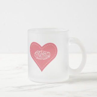 Islamic red heart stitch bismillah calligraphy frosted glass coffee mug