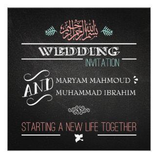 Islamic vintage wedding invitation chalkboard