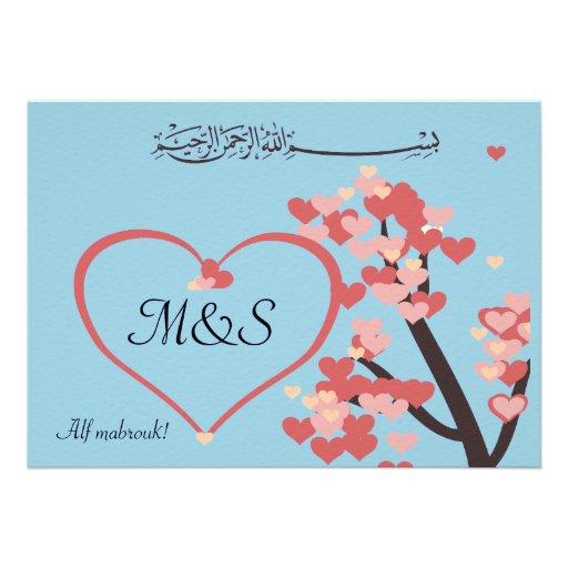 Islamic wedding congratulation love tree heart personalized invitation