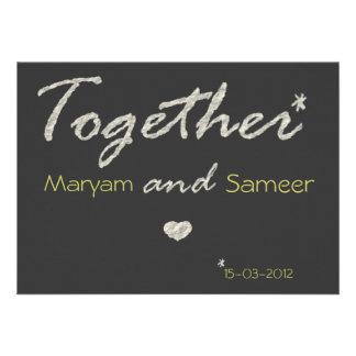 Islamic wedding engagement bismillah modern paper invite