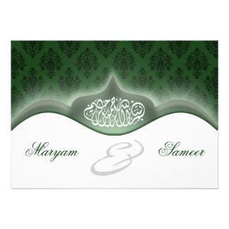 Islamic wedding engagement bismillah royal green announcement