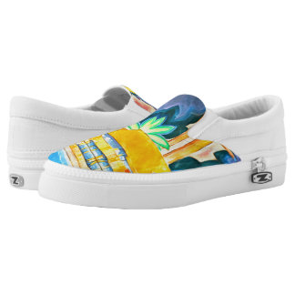 Island Abstract Vintage Painting in Tropical Color Slip On Shoes