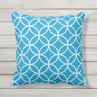 Island Blue Outdoor Pillows - Circle Trellis