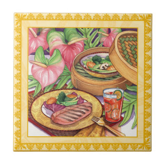Island Cafe - Bamboo Steamer Small Square Tile