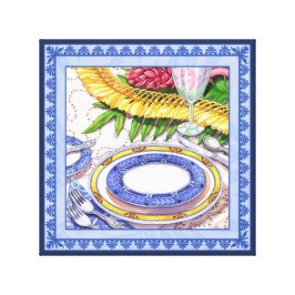 Island Cafe - Ginger Lei Place Setting Canvas Print
