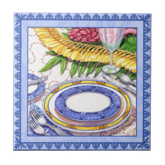 Island Cafe - Ginger Lei Place Setting Small Square Tile