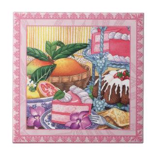 Island Cafe - Guava Chiffon Dessert Small Square Tile