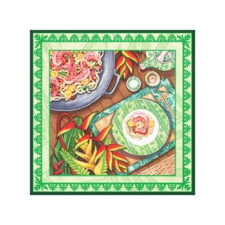 Island Cafe - Heliconia Wok Canvas Print