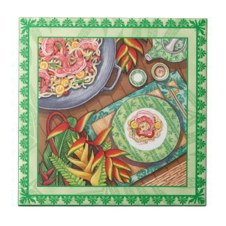 Island Cafe - Heliconia Wok Small Square Tile