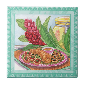 Island Cafe - Party Pupus Small Square Tile