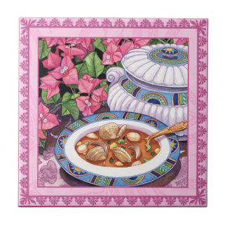 Island Cafe - Soup is Served Small Square Tile