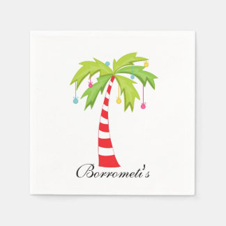 Island Christmas Palm Tree Cocktail Napkin Disposable Napkin