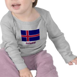 Island Flagge mit Namen Tshirts