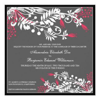 Island Floral fuschia Elegant Wedding Invitation