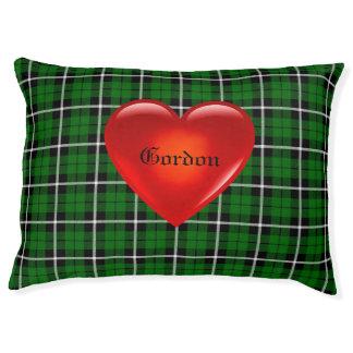 Island green plaid, big red heart, name gordon pet bed