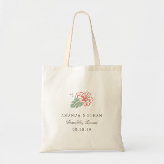 Island Hibiscus Destination Wedding Favor Tote Bag