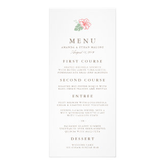 Island Hibiscus Wedding Menu Card Customized Rack Card