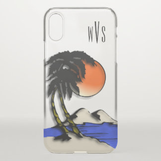 Island Night Design 3 Initial Monogram iPhone X Case