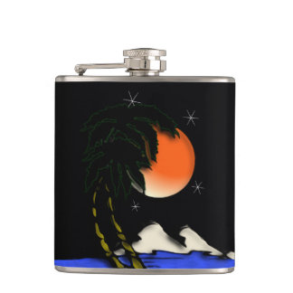 Island Night Design Hip Flask