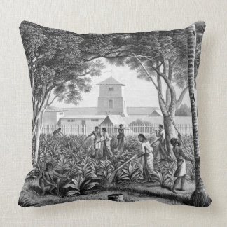 Island of Guam: Natives at Work in the Garden of t Throw Pillow
