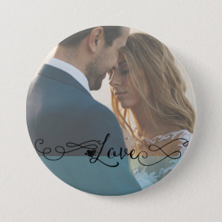 Island Paradise Blue Romantic Love Calligraphy 7.5 Cm Round Badge