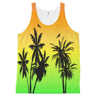 Island Paradise Tropical Palm Trees Sunset Retro All-Over Print Singlet
