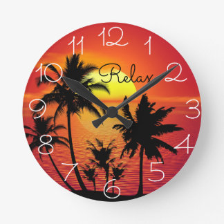 Island Photo with Relax saying Clock