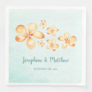Island Plumeria Watercolor Wedding Paper Serviettes