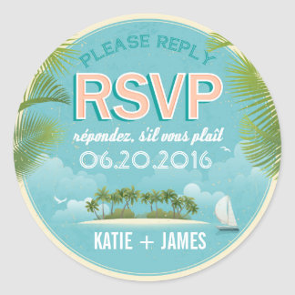 Island Resort Beach Destination RSVP Wedding Label Round Sticker