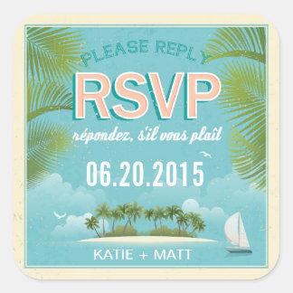 Island Resort Beach Destination RSVP Wedding Label Square Sticker