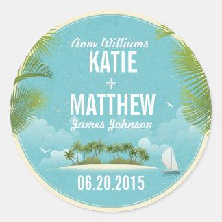 Island Resort Beach Destination Wedding Gift Label Round Sticker