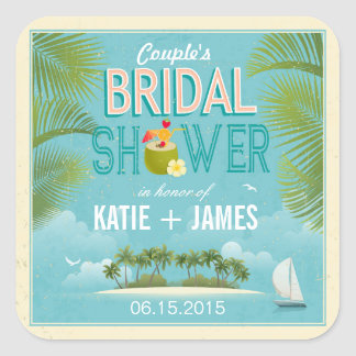 Island Resort Destination Bridal Shower Label Square Sticker