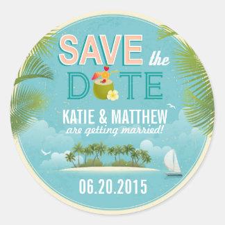 Island Resort Destination Save the Date Label Round Sticker