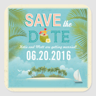 Island Resort Destination Save the Date Label Square Sticker