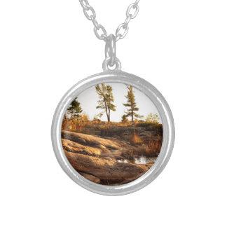Island rocky shoreline silver plated necklace