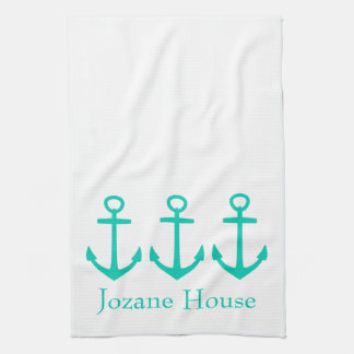 Island Sea Anchors on White Personalized Tea Towel