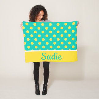 Island Sea and Banana Polka Dot Personalized Fleece Blanket