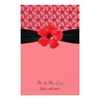 Island Starfish Coral & Black Magnolia Wedding Personalized Stationery