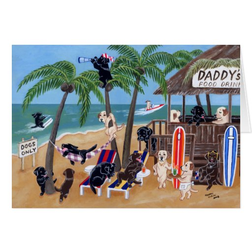 Island Summer Vacation Labradors Cards