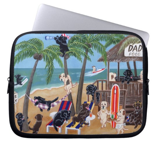 Island Summer Vacation Labradors Painting Laptop Sleeve