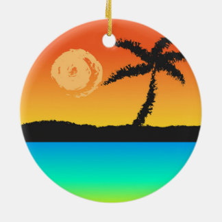 Island Sunset Ceramic Ornament